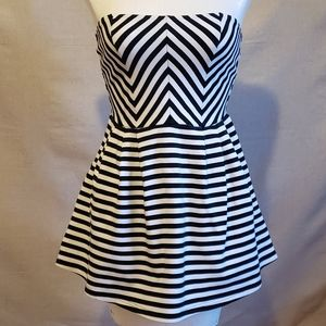 Charlotte Russo Striped strapless Mini Dress S